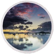 Overcast Morning On The Bay With Boats Round Beach Towel