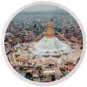 Stupa Temple Bodhnath Kathmandu, Nepal From Air October 12 2018 Round Beach Towel