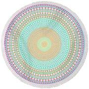 Vintage Multicolor Circle Round Beach Towel