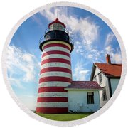 West Quoddy Head Light Round Beach Towel