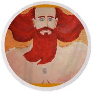 45yr Old Shaped Painting    Round Beach Towel