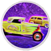 32 Roadster And 49 Woody Round Beach Towel