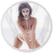 Round Beach Towel featuring the photograph 4959 by Traven Milovich