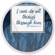 Inspirational Religious Quotes  Round Beach Towel