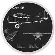 Lockheed Vega 5b - Airplane Blueprint. Drawing Plans For The Lockheed Vega 5b Of Amelia Earhart Round Beach Towel