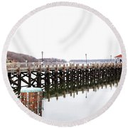 Northport Dock Round Beach Towel