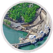 Smith Mountain Lake Dam Round Beach Towel