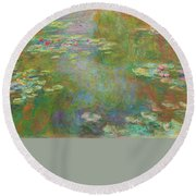 Round Beach Towel featuring the digital art Water Lily Pond by Claude Monet