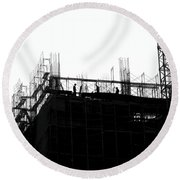 Large Scale Construction In Outline Round Beach Towel
