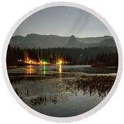 Round Beach Towel featuring the photograph Sierra National Park Mountains Near Mammoth Lakes Californit by Alex Grichenko