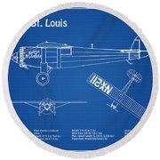 Spirit Of St. Louis Airplane Blueprint. Drawing Plans Of Spirit Of St. Louis Of Charles Lindbergh Round Beach Towel