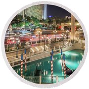 Round Beach Towel featuring the photograph View Of The Venetian Hotel Resort And Casino by Alex Grichenko