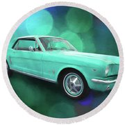 65 Mustang Round Beach Towel