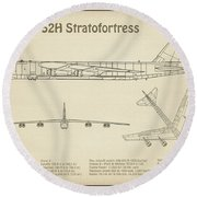 B-52 Stratofortress - Airplane Blueprint. Drawing Plans Or Schematics For Boeing B-52h Stratofortres Round Beach Towel