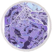 Cape Town South Africa City Street Map Round Beach Towel