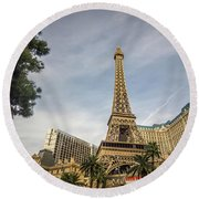 Round Beach Towel featuring the photograph View On The Replica Of Eiffel Tower At Paris Hotel   by Alex Grichenko