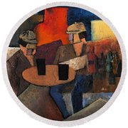 Round Beach Towel featuring the painting 7073 Two Black Solutions by Val Byrne