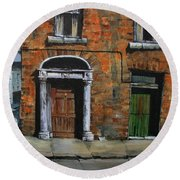 Round Beach Towel featuring the painting 775 Decaying Elegance In The Liberties, Dublin by Val Byrne