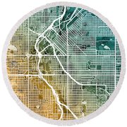 Denver Colorado Street Map Round Beach Towel