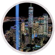 911 Lights Round Beach Towel
