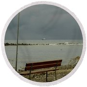 A Bench On Which To Expect, By The Sea Round Beach Towel