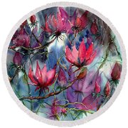 A Blooming Magnolia Round Beach Towel