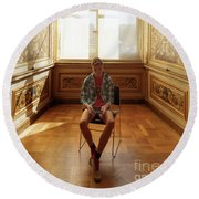 Round Beach Towel featuring the photograph A Boy At The Louvre by Craig J Satterlee