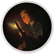 A Boy Blowing On A Firebrand To Light A Candle, 1698 Round Beach Towel