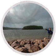 A Charming Little Girl In The Isle Of Skye 1 Round Beach Towel