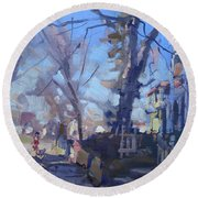 A Cold Sunny Afternoon Round Beach Towel