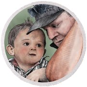 A Conversation With Daddy  Round Beach Towel