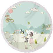 A Day At The Park Round Beach Towel
