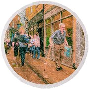 A Day At The Shops Round Beach Towel