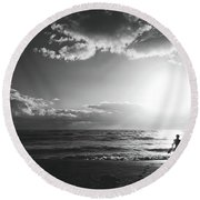 A Day Of Surfing Begins Round Beach Towel