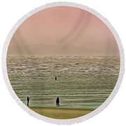 Round Beach Towel featuring the photograph A Distant Shore by Leigh Kemp