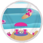 A Dog Family Surf Day Out Round Beach Towel