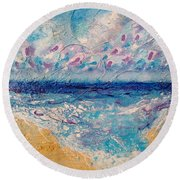 Round Beach Towel featuring the painting A Drop In The Ocean by Tracy Bonin