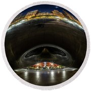 A Fisheye Perspective Of Chicago's Bean Round Beach Towel