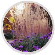 A Flower Bed In The Autumn Park Round Beach Towel