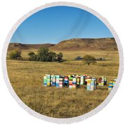 Round Beach Towel featuring the photograph A Great Place To Bee by Carl Young
