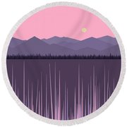 A Lake In The Mountains -  Pink Sky Round Beach Towel