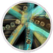 A Light Beams In Gold Brown And Blue Round Beach Towel