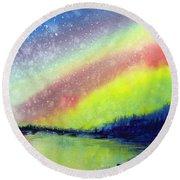 A Little Aurora Borealis Round Beach Towel