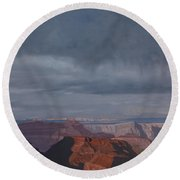 A Little Rain Over The Canyon Round Beach Towel