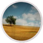 Round Beach Towel featuring the photograph A Machias Hillside by Guy Whiteley