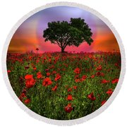 A Magical Evening In Poppies Round Beach Towel