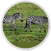 Round Beach Towel featuring the photograph A Pair Of Zebras by Kay Brewer