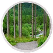 A Path To The River Round Beach Towel