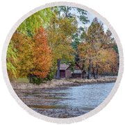 A Peaceful Place On An Autumn Day Round Beach Towel