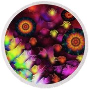 A Poets Birthday Dance Through Fire And Rain 2019 Round Beach Towel